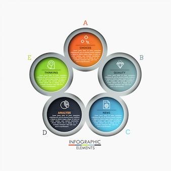 Diagramme De Pétale De Fleur, 5 éléments Ronds Colorés Avec Des Symboles Et Des Zones De Texte à L'intérieur. Vecteur Premium