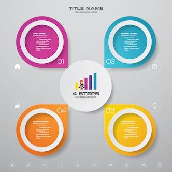 Diagramme de processus simple et modifiable en 4 étapes. eps 10.
