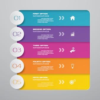 Diagramme de processus simple et modifiable en 5 étapes. eps 10.