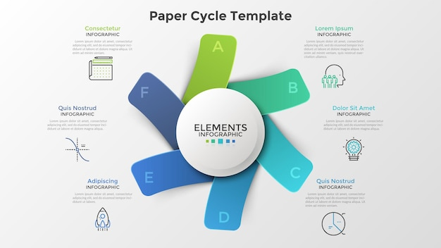 Diagramme avec six rectangles ou cartes colorés en papier placés autour d'un élément rond blanc. modèle de conception infographique moderne. illustration vectorielle à la mode pour un projet d'entreprise en 6 étapes, processus cyclique.
