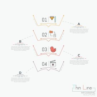 Diagramme vertical, 4 éléments numérotés avec pictogrammes
