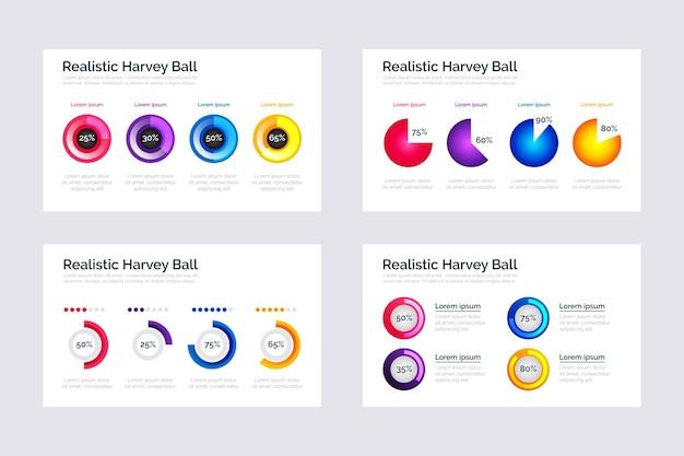 Diagrammes de balle harvey réalistes infographiques