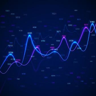 Diagrammes et graphiques commerciaux sur fond bleu avec des nombres aléatoires.