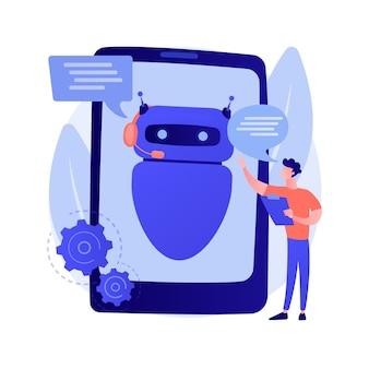Dialogue avec chatbot. l'intelligence artificielle répond à la question. support technique, messagerie instantanée, opérateur hotline. assistant ia. consultant bot client. illustration de métaphore de concept isolé de vecteur.
