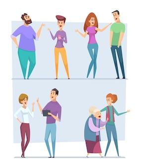 Dialoguez avec les gens. expression caractères pointant haut discours personnes conversation foule vecteur messagers parler personnes images vectorielles. groupe de communication de personnes, illustration homme et femme