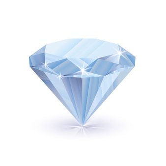 Diamant brillant éblouissant avec ombre isolé sur blanc