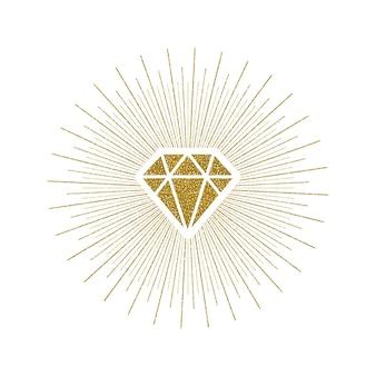 Diamant brillant en or scintillant avec sunburst.
