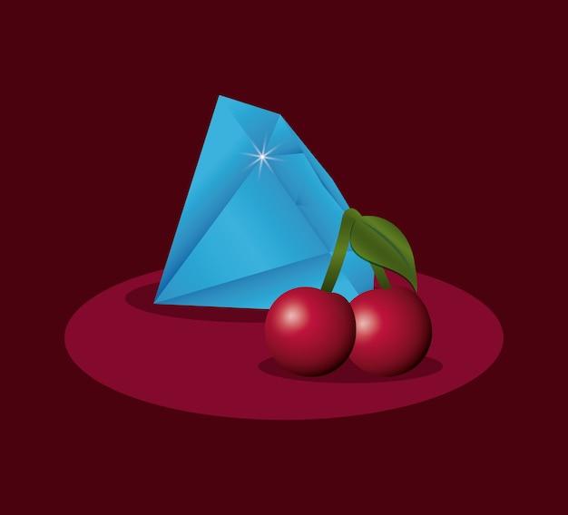 Diamant et cerises de prix de jeux de poker de casino