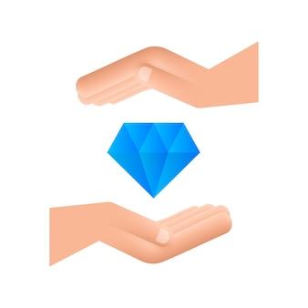 Diamant avec la conception de l'icône de la main diamant avec l'icône de la main dans la conception de style plat à la mode