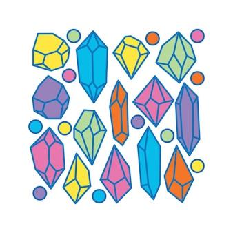 Diamant en cristal coloré dans la pierre précieuse d'art de concept de style de dessin animé