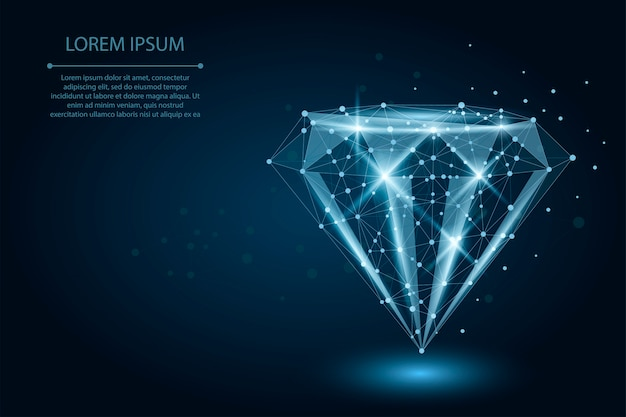 Diamant low poly composé de points et de lignes