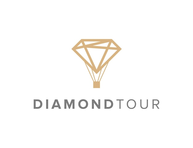Diamant tour contour simple et élégant création de logo géométrique moderne
