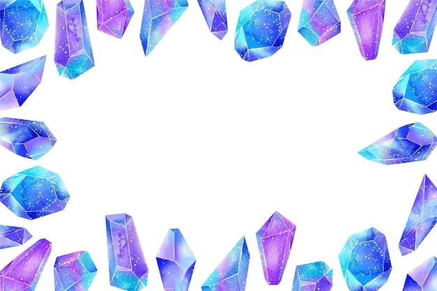 Diamants aquarelle avec fond d'espace vide