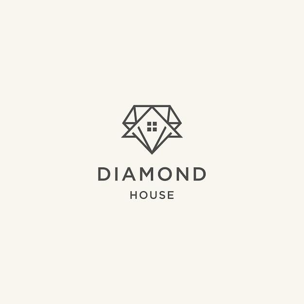 Diamants et concepts de conception abstraite de maison pour les agents immobiliers
