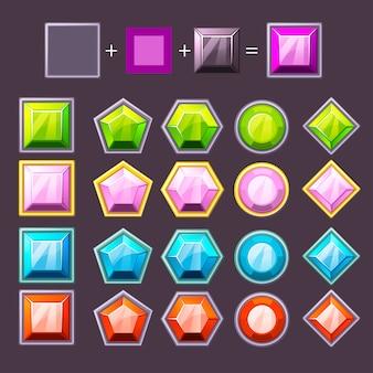 Diamants de dessin animé sertis de différentes couleurs modifiables