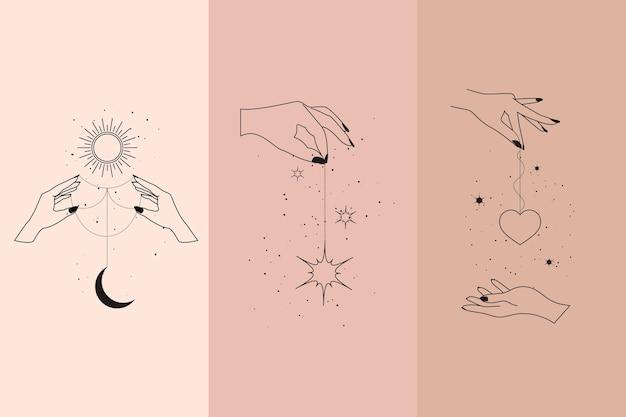 Diamants magiques et mains de femme dans un ensemble d'illustrations de style linéaire boho