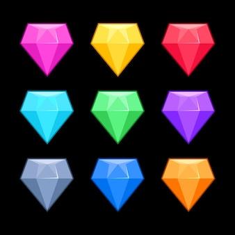 Diamants de vecteur coloré isolés
