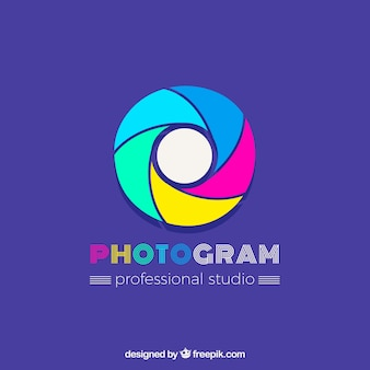 Diaphragme photographie logo en couleurs