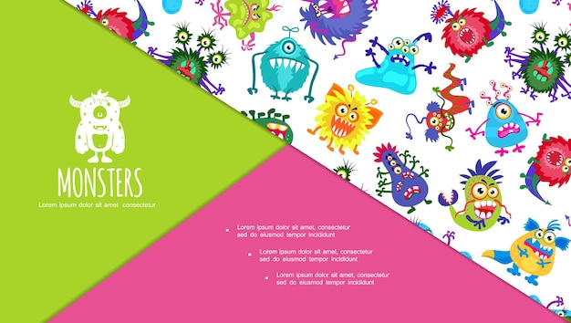 Diapositive colorée de dessin animé avec composition de monstres mignons avec de drôles de créatures effrayantes et laides en colère