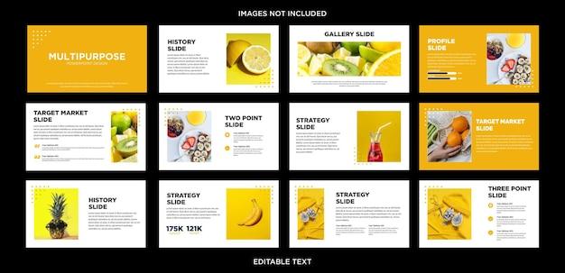Diapositive de conception powerpoint polyvalente aux fruits frais et orange