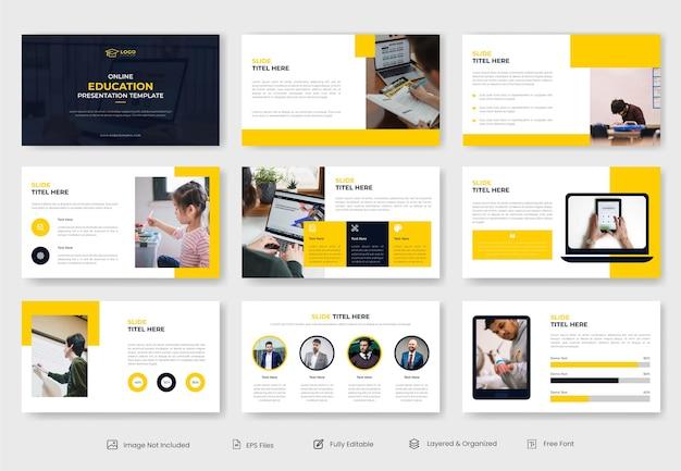 Diapositive de modèle de présentation d'éducation ou d'apprentissage en ligne