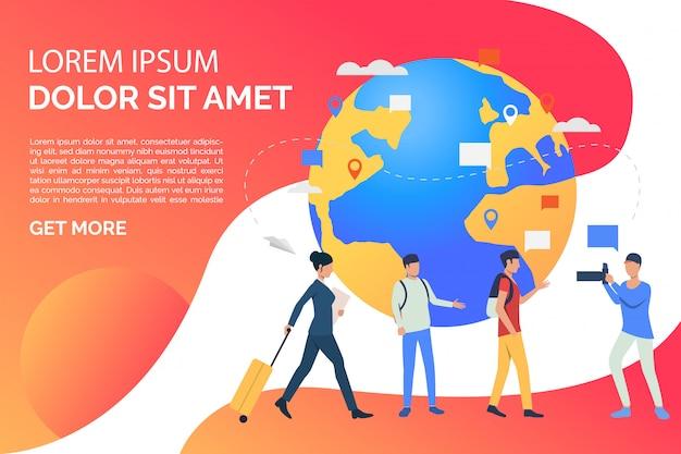 Diapositive page avec globe et illustration de personnes en voyage