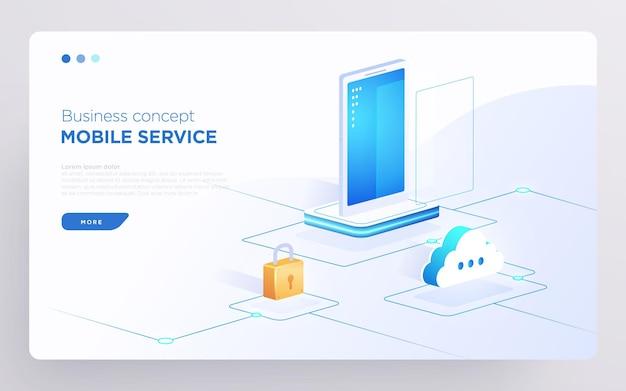 Diapositive page de héros ou bannière de technologie numérique concept d'entreprise de service mobile vecteur isométrique