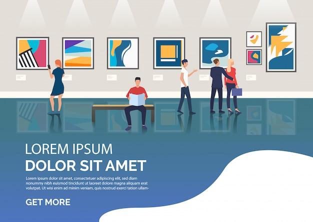 Diapositive avec des visiteurs de l'illustration d'une galerie d'art