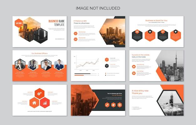 Diapositives de présentation d'entreprise avec des éléments infographiques