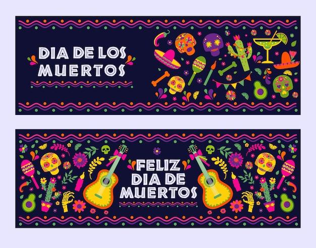 Dias de los muerto, bannière de célébration de la fiesta mexicaine