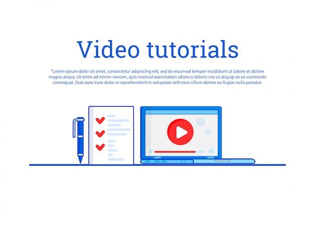 Didacticiel vidéo. concept education, formation en ligne, étude internet