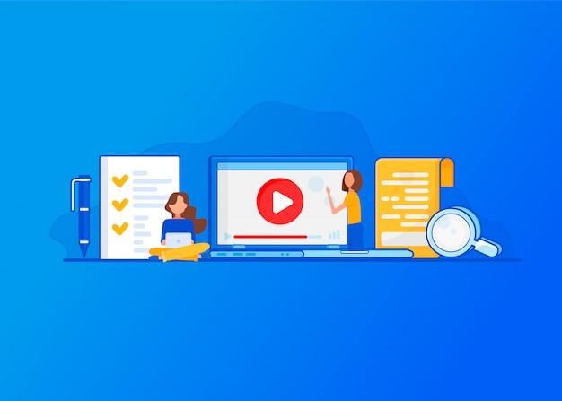 Didacticiel vidéo. concept pour l'éducation en ligne.