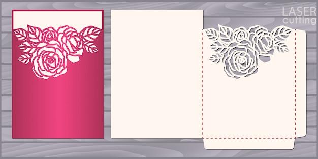Die modèle de carte de mariage découpé au laser. enveloppe de poche invitation avec motif de roses. invitation de dentelle de mariage
