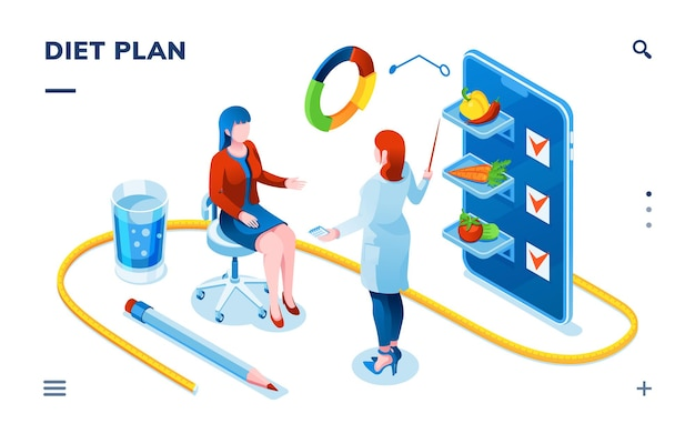 Diététicien et patiente pour une application de diététique pour smartphone consultation de médecin diététicien à propos de