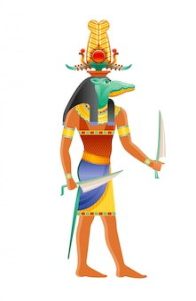Dieu égyptien sobek, divinité crocodile du nil. dieu égyptien antique