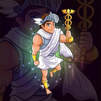 Le dieu grec d'hermès pour la conception de logo esport d'illustration
