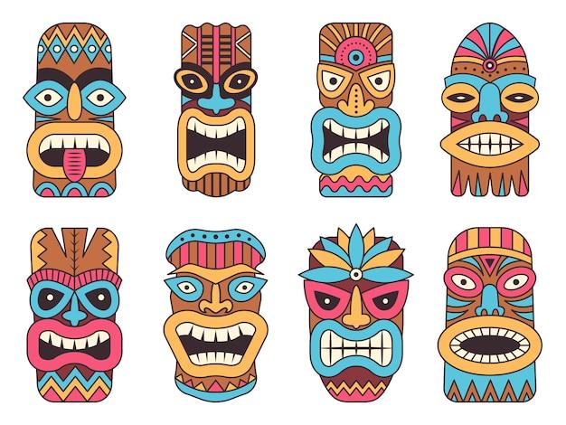 Dieu hawaïen tiki. totem tribal