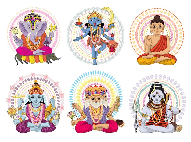 Dieu indien hindouisme divinité de la déesse et idole divin ganesha en inde illustration set