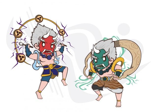 Le dieu japonais de la foudre et le dieu du vent illustration de caractère