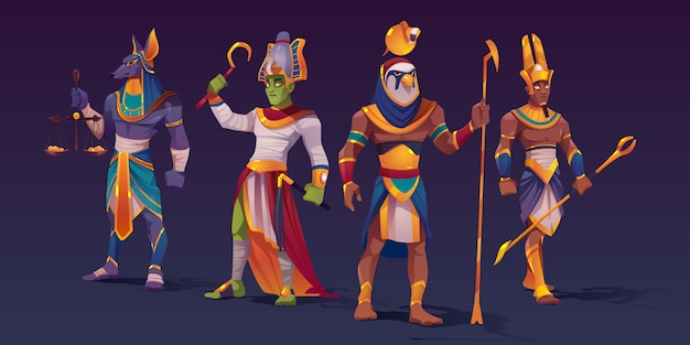 Dieux égyptiens anubis, ra, amon et osiris. personnages de divinités de l'égypte ancienne dans des vêtements de pharaon tenant des attributs divins de pouvoir comme des échelles avec des pièces d'or et des bâtons, illustration vectorielle de dessin animé
