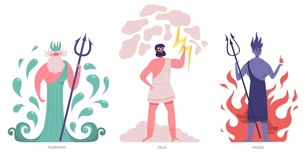 Dieux grecs antiques. olympiques grecs principaux dieux puissants, zeus, poséidon et hadès