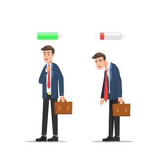 Différence chez un homme entre l'état d'enthousiasme et de fatigue