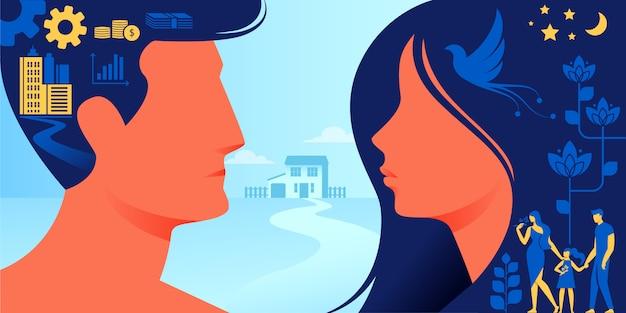 Différence entre les états d'esprit des hommes et des femmes