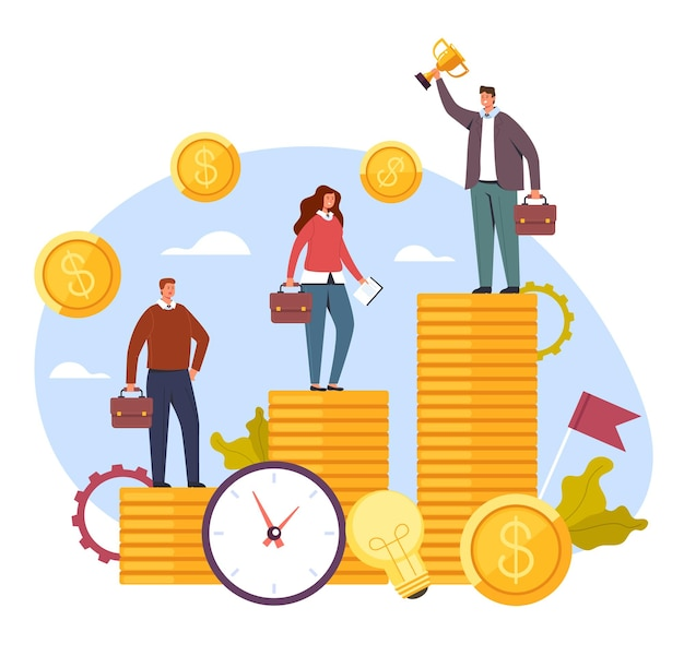 Différence de revenu salarial, concept de problèmes sociaux, dessin animé plat.
