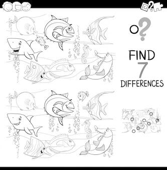 Différences avec les poissons caractères livre de couleurs