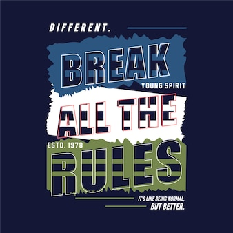 Différent jeune esprit typographie graphique vecteur t shirt design illustration style décontracté