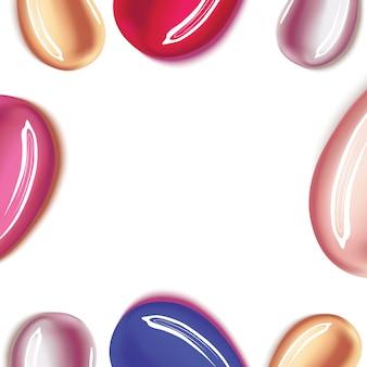 Différent rouge à lèvres frottis sur fond blanc.
