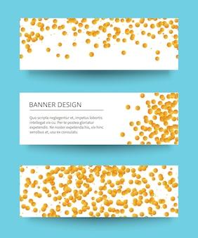 Différentes bannières de confettis d'or avec une ombre.