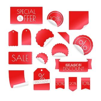 Différentes bannières de réduction shopping isolés sur fond blanc. clipart vectoriel