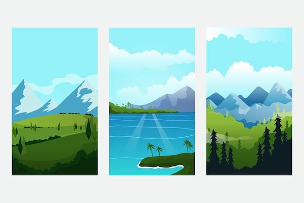 Différentes belles collections de paysages